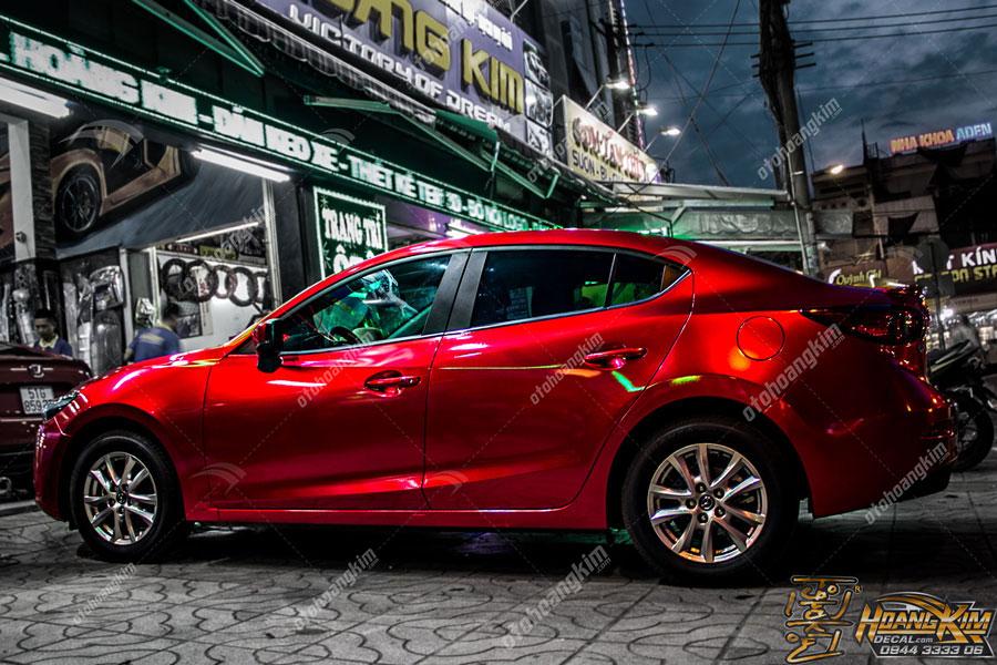 Mazda 3 wrap đổi màu xe gloss red