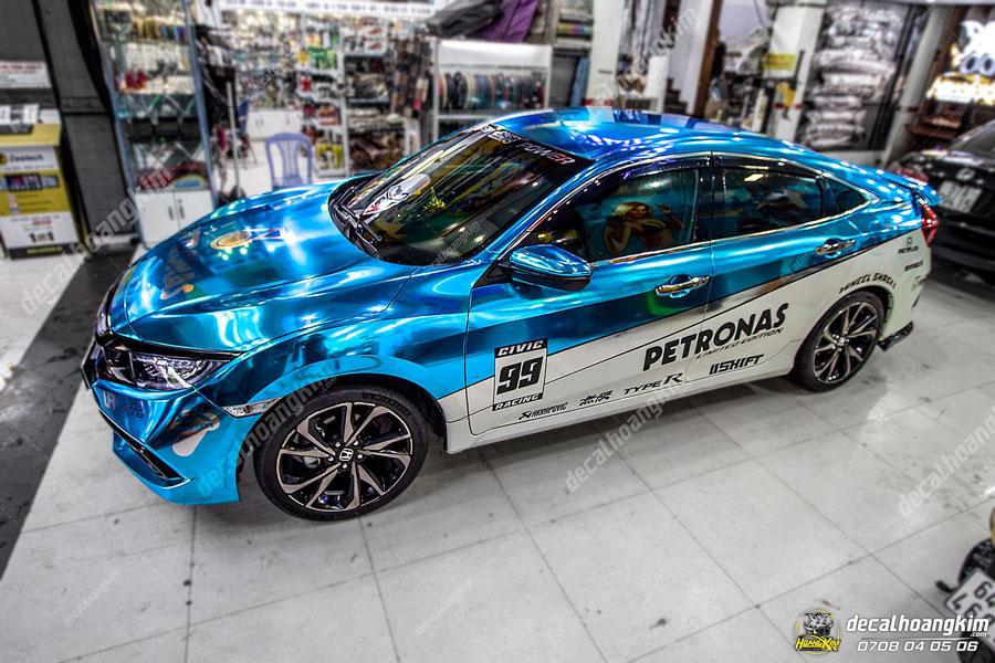Ô Tô Hoàng Kim lên mẫu tem xe Honda Civic xanh biển Chrome cực ngầu