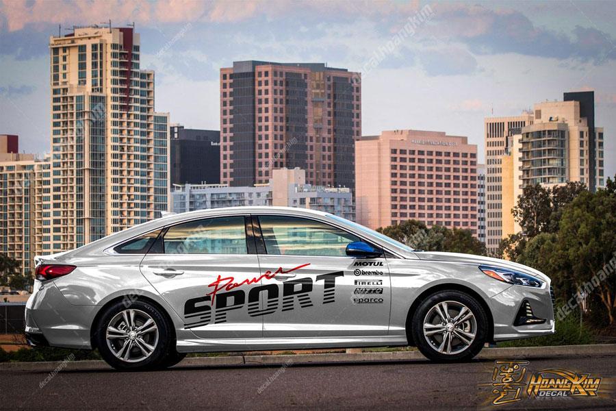 Mẫu tem xe Hyundai Elantra chữ Sport