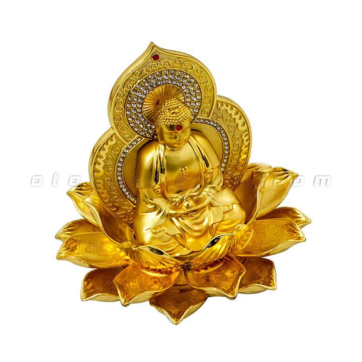 Tượng phật vàng như lai ngồi hoa sen nở