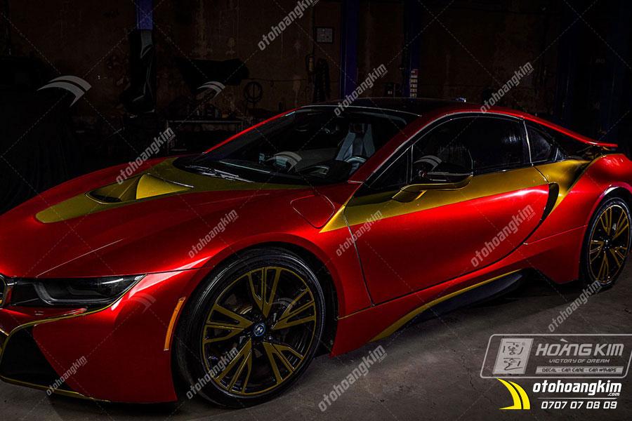 Wrap đổi màu xe ô tô BMW I8 theo style Iron Man