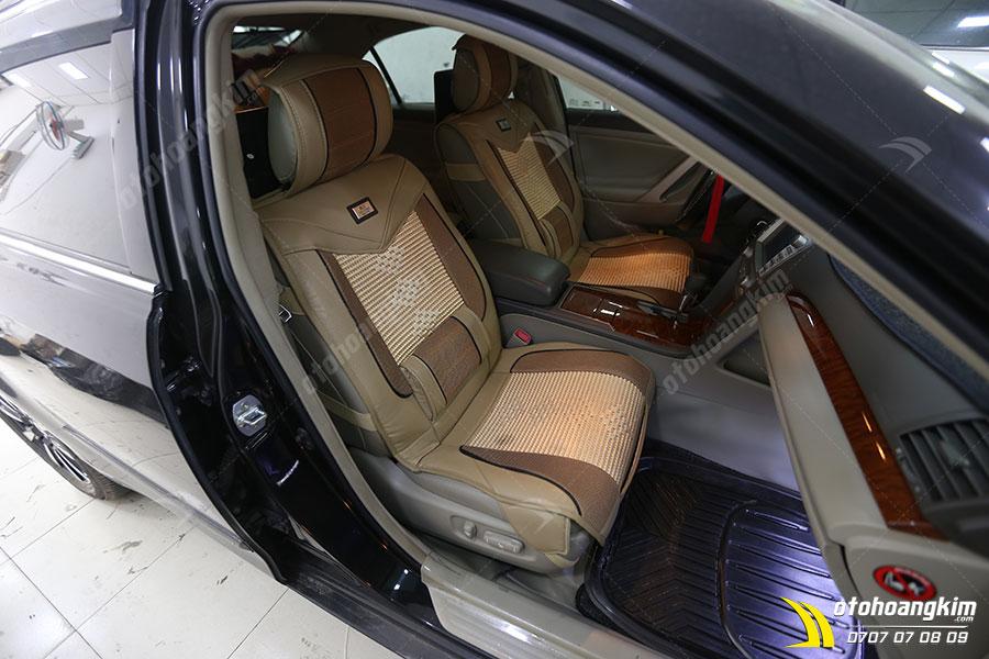 Lót ghế ô tô chất liệu da nỉ kèm dây đan thoáng khí
