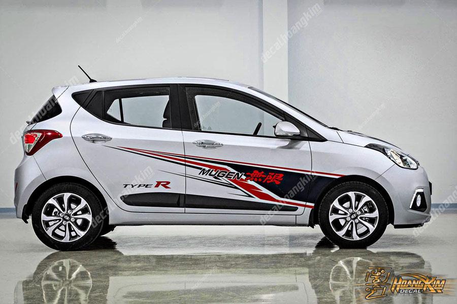 Mẫu thiết kế tem xe Hyundai I10 đơn giản sành điệu
