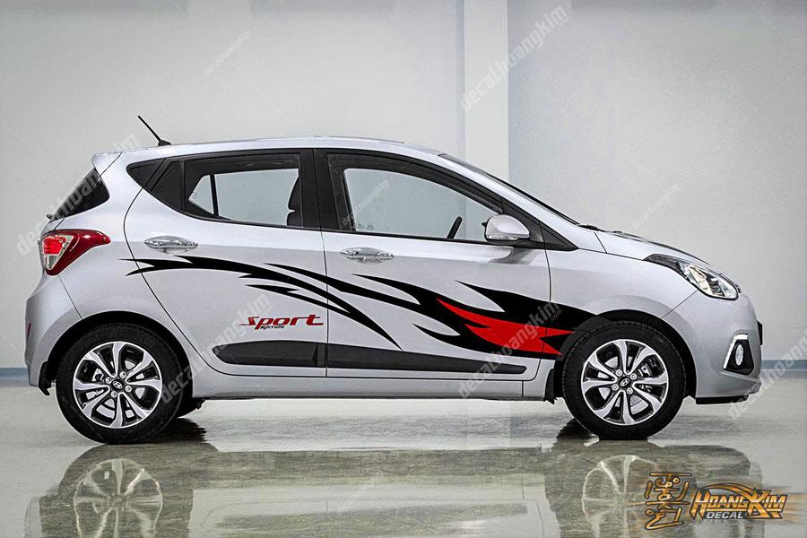 Lên mẫu tem xe Hyundai I10 năng động thể thao