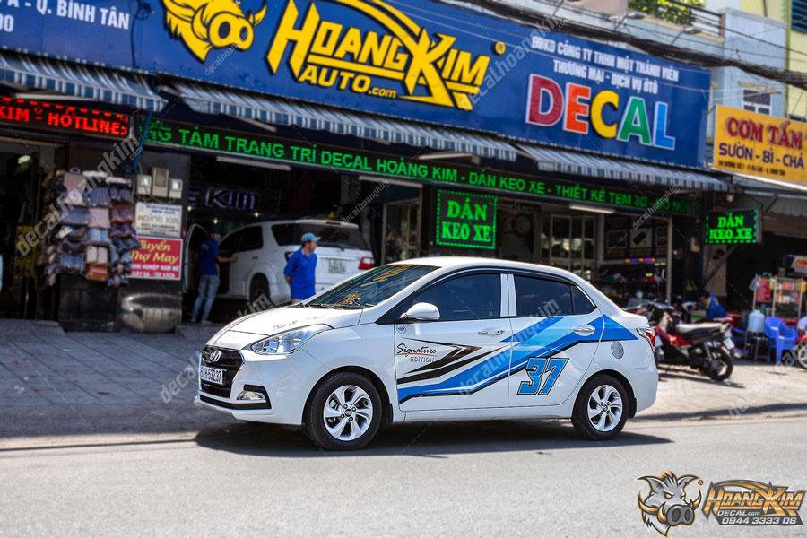 Mẫu tem xe Hyundai I10 màu xanh biển năng động