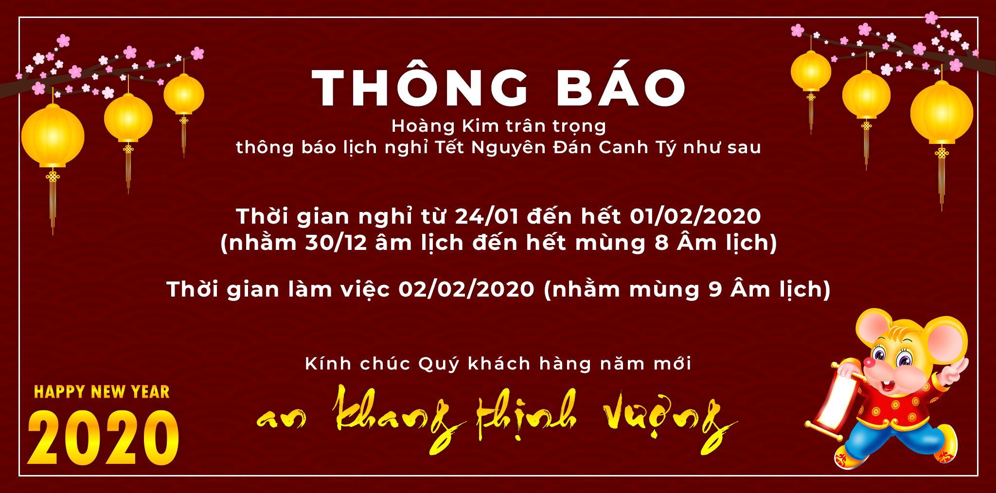 Thông báo nghỉ Tết Bình Tý 2020 - Ô Tô Hoàng Kim