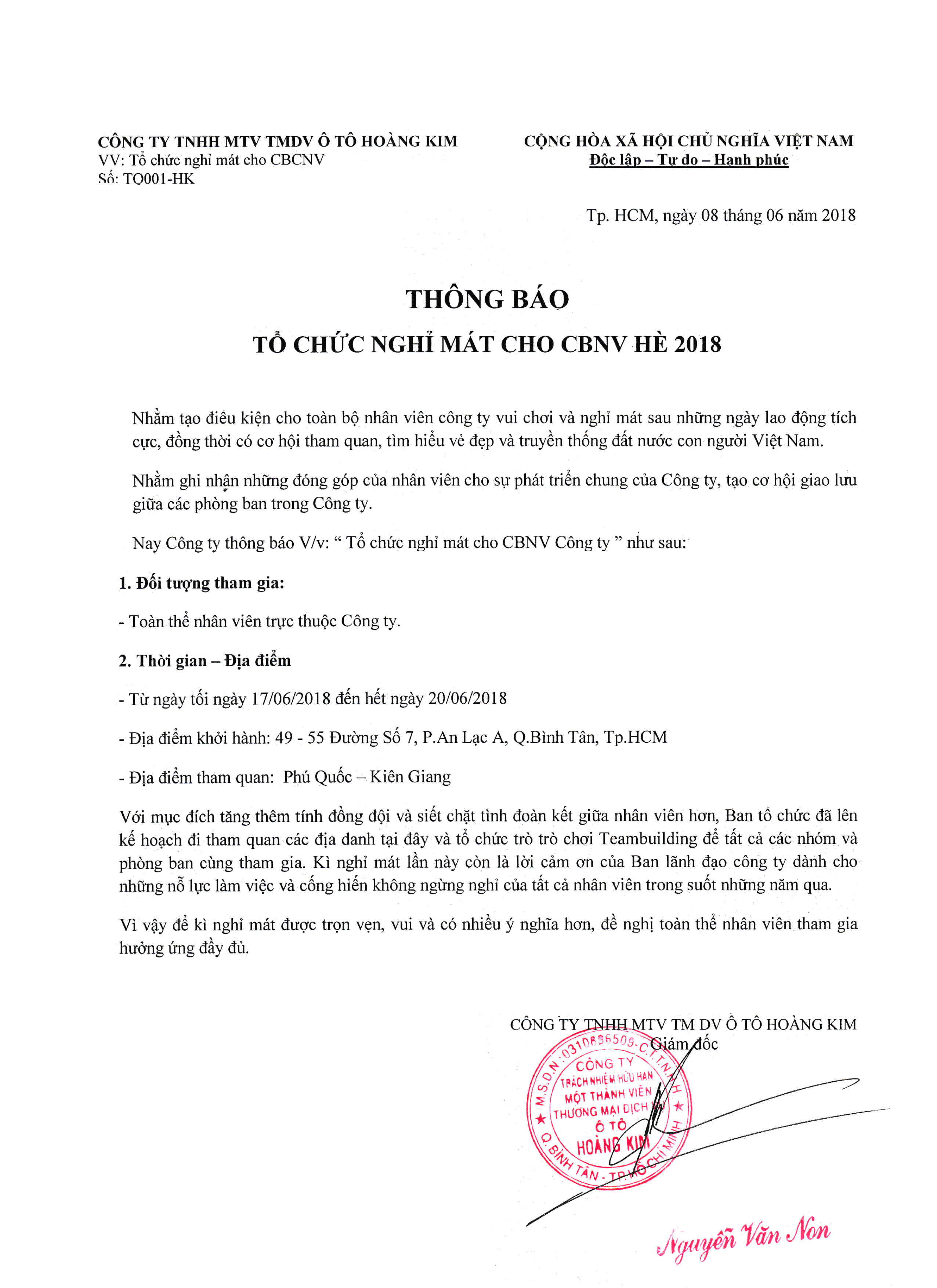 THÔNG BÁO CHƯƠNG TRÌNH DU LỊCH NGHỈ MÁT HÈ 2018